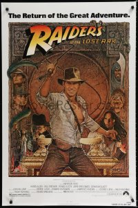 1610UF RAIDERS OF THE LOST ARK 1sh R82 great art of adventurer Harrison Ford by Richard Amsel!