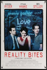 2317UF REALITY BITES 1sh '94 Winona Ryder, Ben Stiller, Ethan Hawke, comedy about love in the '90s!
