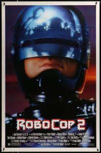 2330UF ROBOCOP 2 domestic DS 1sh '90 great close up of cyborg policeman Peter Weller, sci-fi sequel!