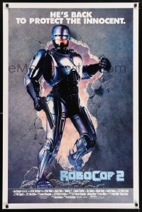 2331UF ROBOCOP 2 int'l 1sh '90 full-length cyborg policeman Peter Weller busts through wall, sequel!