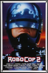 1614UF ROBOCOP 2 int'l 1sh '90 great close up of cyborg policeman Peter Weller, sci-fi sequel!