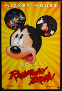 0757UF RUNAWAY BRAIN DS 1sh '95 Disney, great huge Mickey Mouse Jekyll & Hyde cartoon image!