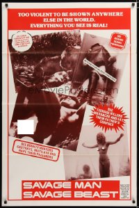 1474TF SAVAGE MAN SAVAGE BEAST 1sh '74 to violent to be shown anywhere else, eating corpses!
