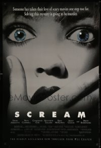 2347UF SCREAM DS 1sh '96 directed by Wes Craven, great super close up of scared woman!