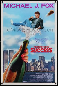 2349UF SECRET OF MY SUCCESS 1sh '87 wacky image of Michael J. Fox & huge bottle of champagne!