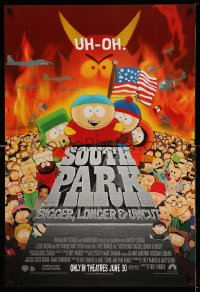2362UF SOUTH PARK: BIGGER, LONGER & UNCUT int'l advance 1sh '99 Parker & Stone animated musical!