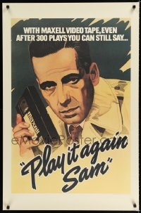 1679UF MAXELL: PLAY IT AGAIN SAM 26x40 advertising poster '83 cool artwork of Humphrey Bogart w/VHS