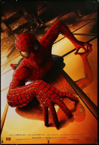 2365UF SPIDER-MAN int'l teaser DS 1sh '02 Tobey Maguire climbing building, Raimi, Marvel!
