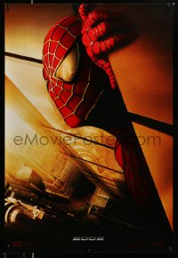 2366UF SPIDER-MAN SpanUS export teaser DS 1sh '02 Tobey Maguire w/WTC towers in eyes, Marvel Comics!