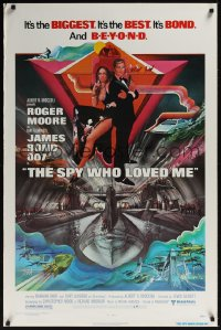 0387UF SPY WHO LOVED ME 1sh '77 great art of Roger Moore as James Bond 007 by Bob Peak!
