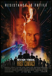 2370UF STAR TREK: FIRST CONTACT advance 1sh '96 Jonathan Frakes, Stewart, Spiner, Borg Alice Krige!