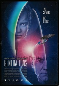 2371UF STAR TREK: GENERATIONS int'l advance DS 1sh '94 Stewart/Picard, Shatner/Kirk, two captains!