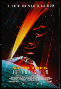 2372UF STAR TREK: INSURRECTION advance 1sh '98 the battle for paradise has begun, cool sci-fi art!