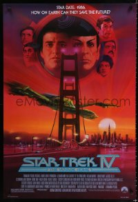 1624UF STAR TREK IV 1sh '86 art of Leonard Nimoy, Shatner & Klingon Bird-of-Prey by Bob Peak!