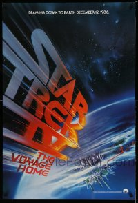 2368UF STAR TREK IV teaser 1sh '86 Leonard Nimoy, art of title racing towards Earth by Bob Peak!