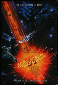 1626UF STAR TREK VI advance 1sh '91 William Shatner, Leonard Nimoy, art by John Alvin!
