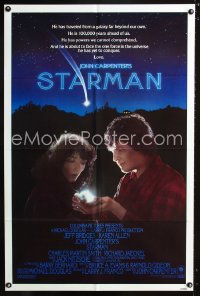 0764FF STARMAN int'l blue style 1sh '84 John Carpenter, close up of alien Jeff Bridges & Karen Allen