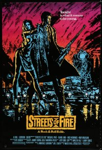 1629UF STREETS OF FIRE 1sh '84 Walter Hill, a rock & roll fable, cool dayglo Riehm art!