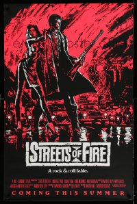 2383UF STREETS OF FIRE advance 1sh '84 Walter Hill, Riehm pink dayglo art, a rock & roll fable!