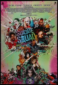 2568UF SUICIDE SQUAD advance DS 1sh '16 montage art of the entire cast in mushroom cloud!