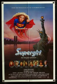 0768FF SUPERGIRL 1sh '84 super Helen Slater in costume flying over Statue of Liberty!