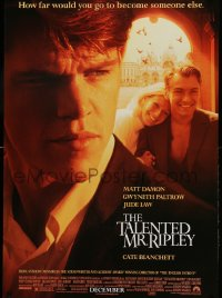 2392UF TALENTED MR. RIPLEY advance DS 1sh '99 Matt Damon, Jude Law, Gwyneth Paltrow, Minghella