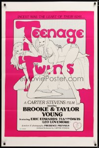 1490TF TEENAGE TWINS 1sh '76 sexy twins Brooke & Taylor Young, x-rated!