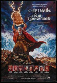 2395UF TEN COMMANDMENTS 1sh R89 DeMille classic, Ezra Tucker art of Charlton Heston with tablets!