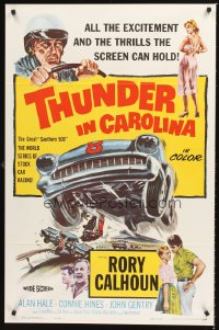 1229TF THUNDER IN CAROLINA 1sh '60 Rory Calhoun, artwork of the World Series of stock car racing!