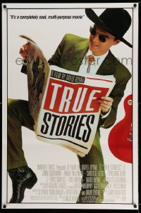 2403UF TRUE STORIES 1sh '86 giant image of star & director David Byrne reading newspaper!