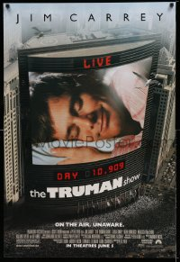 2404UF TRUMAN SHOW advance 1sh '98 the entire world watches Jim Carrey's life on TV, Peter Weir!
