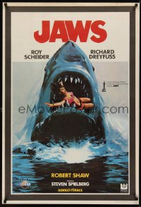 1195UF JAWS Turkish '75 best different art of classic man-eating shark with sexy girl in mouth!