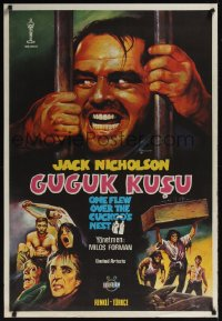 0869UF ONE FLEW OVER THE CUCKOO'S NEST Turkish '75 great c/u of Jack Nicholson, Milos Forman classic