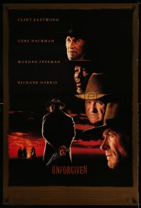 2412UF UNFORGIVEN DS 1sh '92 gunslinger Clint Eastwood, Gene Hackman, Morgan Freeman, Harris!