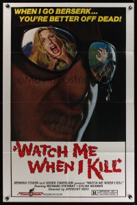 1064FF WATCH ME WHEN I KILL 1sh '77 cool art of scared girl in killer's mirrored sunglasses!