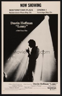 1270UF LENNY WC '74 cool silhouette image of Dustin Hoffman as comedian Lenny Bruce at microphone!
