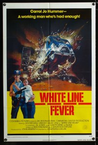 0785FF WHITE LINE FEVER int'l style B 1sh '75 Jan-Michael Vincent, cool truck crash artwork!