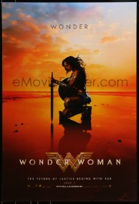 2651UF WONDER WOMAN teaser DS 1sh 2017 sexiest Gal Gadot in title role/Diana Prince kneeling, June 2