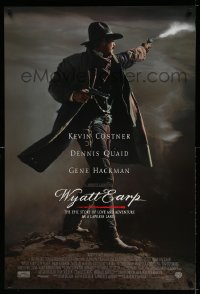 2424UF WYATT EARP advance DS 1sh '94 cool image of Kevin Costner in the title role firing gun!
