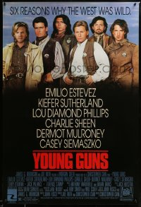 2430UF YOUNG GUNS 1sh '88 Emilio Estevez, Charlie Sheen, Kiefer Sutherland, Lou Diamond Phillips