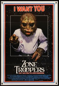 1235FF ZONE TROOPERS 1sh '85 Uncle Sam-like alien, parody of James Montgomery Flagg's I Want You!