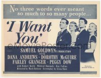 2455 I WANT YOU herald '51 Dana Andrews, Dorothy McGuire, Farley Granger, Peggy Dow