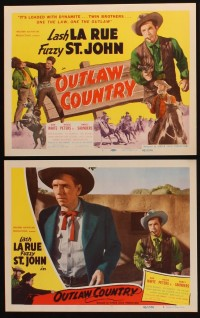 1355 OUTLAW COUNTRY 8 LCs '48 Lash La Rue in black w/two guns drawn, bad guys!