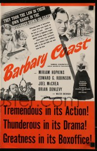 2597 BARBARY COAST pressbook R44 Edward G. Robinson, Joel McCrea, Miriam Hopkins, Howard Hawks