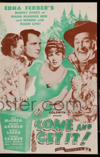 2600 COME & GET IT pressbook R44 Frances Farmer, Joel McCrea, Howard Hawks, Wyler, Edna Ferber!