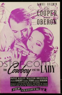 2602 COWBOY & THE LADY pressbook R44 great romantic close up of Gary Cooper & Merle Oberon!