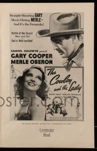 2603 COWBOY & THE LADY pressbook R54 great images of Gary Cooper & beautiful Merle Oberon!