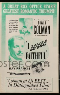2604 CYNARA pressbook R44 King Vidor directed, Ronald Colman, Kay Francis, I Was Faithful!