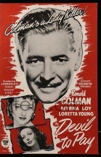 2605 DEVIL TO PAY pressbook R46 Ronald Colman, pretty Loretta Young & Myrna Loy!