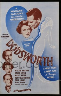 2606 DODSWORTH pressbook R44 directed by William Wyler, Walter Huston, David Niven, Mary Astor!